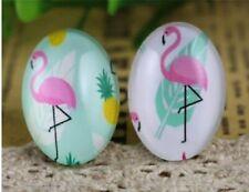 3pcs25x18mm glass oval Flamingo cabochons