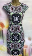Ted Baker 'cambree' Verde/Rosa Floral Vestido Lápiz Elástico Talla 2 Reino Unido 10