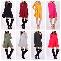 Womens Ladies Long Sleeve Plain Scoop Neck Flared Swing Dress Top Plus Size 8-26