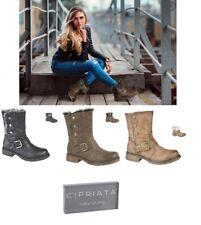 Ladies Ankle Boots Faux Fur Fold Down Biker Size 3-9