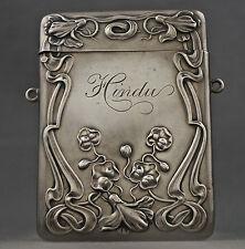 Rare R Blackinton & Co Art Nouveau Sterling Silver Floral Repousse Card Case