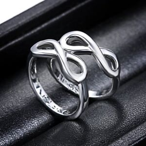 2Pcs Big/Lil Sister Love White Gold Filled Women Size 7 Infinity Ring Jewelry