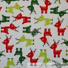 BonEful Fabric Cotton Quilt White Red Green Xmas REIN*DEER Dot Kid Holiday SCRAP