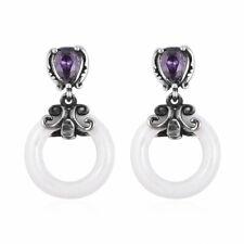 Purple Cubic Zirconia Cz for Women Dangle Drop Earrings Stainless Steel Ceramic