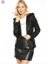 Very Black Sequin Jacket New Size 10