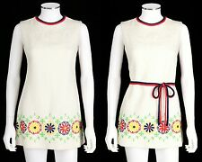 VTG 1960s L'AIGLON IVORY SLEEVELESS LINEN LOOK FLORAL EMBROIDERED MINI DRESS S