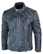 Mens Blue Washed Jacket Zip Biker Vintage Distressed Retro Casual Real Leather