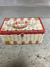 "Small Vtg Woven Sewing Basket Box Hinged Lid Japan USB-7 8"" x 5"" x 4"""