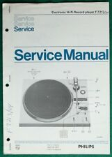 Orig Factory Philips F7213-44 F-7213-44Turntable/Record Player Service Manual