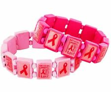"""3 Breast Cancer Paper Art WOODEN Stretch Bracelets-Rhinestone Accents-1/2"""" Wide"""