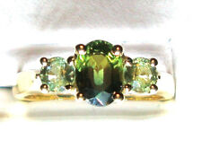 NEW Green Sapphire Gold Ring 1.12ct 14K Yellow Gold Size 6