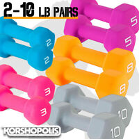 Neoprene Hex Dumbbell PAIRS Variety Of Colors Home Gym Fitness Grip Weights NEW