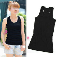 Fashion Women Sexy Sleeveless Solid Color Fitness T-Shirt Basic Vest Tank Tops N