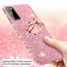 For Samsung Galaxy A21s/A11/A31/A51/A71 5G Glitter Rubber Ring Stand Case Cover