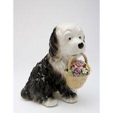 # New MUSIC BOX Porcelain OLD ENGLISH SHEEPDOG Puppy Dog Musical Figurine Statue