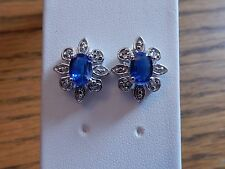 Himalayan Sapphire Blue Kyanite & White Topaz Silver Earrings 2.08cts
