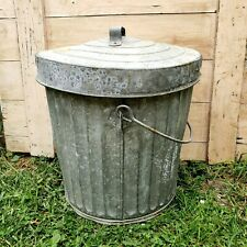Early Vintage Reeve's Galvanized Metal Trash Garbage Waste Can Pail W/ Handle