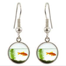Goldfish Bowl Silver Plated Dangle Earrings Gift Boxed Fish Aquatic Gift BNIB