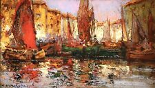 More details for charles dagnac riviere (1864-1945) signed french impressionist oil boats harbour