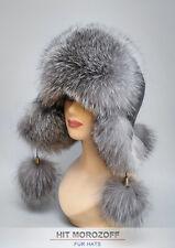 Blue Frost Fox Fur Hat Black Aviator Chapka Ushanka Fliegermütze Pelzmütze Ski