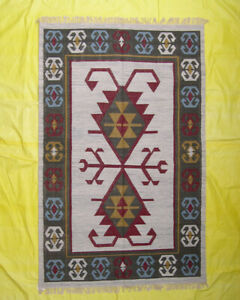 Home Décor Hand Woven Wool Geometric Tribal Rugs Carpet 5x8 Kilim Beige Color