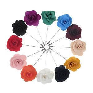 Lot of 12 TopTie Mens Lapel Pin Flower Boutonniere Stick for Wedding Event Suit