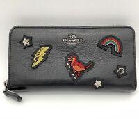 Coach Souvenir Embroidery Rexy Black Leather Long Wallet