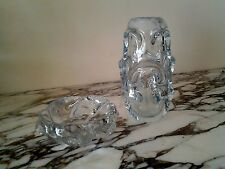 Marquise Crystal Vase Palma Paket Design 8 3/4 Tall and Ashtray,