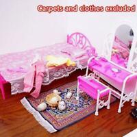 Mode Rosa Bett Frisierkommode & Stuhl für Barbies Puppen Schlafzimmermöbel J8N8