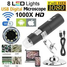 2MP WIFI Digital Microscope 1000X 8LED Wireless Magnifier Camera for Android iOS
