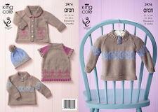 King Cole bébé set swing robe manteau chapeau tricot motif Aran Prem - 12mths 3974