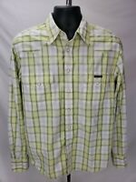 Men's XL Lucky Brand Green Striped Shirt Pearl Snap Casual Cotton Long Sleeve