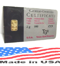 2 GRAM GOLD OR ORO BAR LINGOT BARRA 24K TGR BULLION 999.9 FINE N. AMERICAN ASSAY