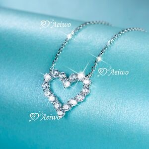 925 sterling silver simulated diamond pendant chain necklace Love heart classic