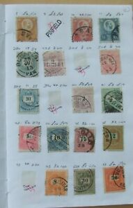 180 Hungary stamps 1871-1937 in old club book. 12 pages shown