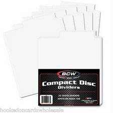 1 Pack of 25 BCW White Compact Disc Dividers Tabbed for storage boxes