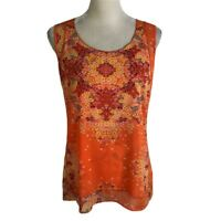 Cabi Orange Purple Floral Layered Sleeveless Scoop Neck Blouse Top Womens S