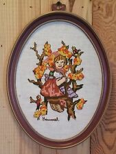 Lot Of 2 Vintage HUMMEL NEEDLEPOINT CREWEL EMBROIDERED FRAMED PICTURE PLAQUE
