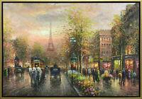Hungryartist large fine quality canvas art - painting of Paris street 27x40