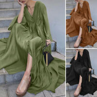 ZANZEA 8-24 Women Pleated Full Length Long Maxi Kaftan Caftan Button Shirt Dress