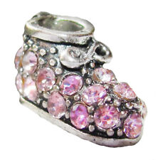 Booty Shoe Pink Rhinestone New Baby Girl Shower Charm for European Bead Bracelet