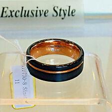 14K Gold Tungsten Black Ring Wedding Band Comfort Fit Men or Women Size 9 or 11