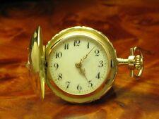 14kt 585 Gold Savonette Sprungdeckel Taschenuhr mit Diamant Besatz