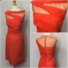 Jacques Azagury Ladies Couture Orange Lace Shutter Evening Dress UK Size 12/14