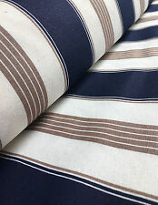 Marine Stripes Navy Blue Stripe Fabric - Curtain Upholstery Material 140cm wide