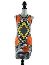 TopShop Sleeveless Tank Dress Geometric Stretch Bodycon Womens 10