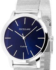 Damen Armbanduhr Blau/Silber Edelstahlarmband Meshband von Excellanc 1300008