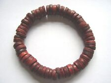 Dark red coco wood bead stretch surf style bracelet