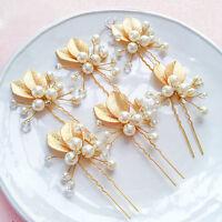 4x Crystal Bride Flower Hair Comb Clip Rhinestone Bridal Delicate Ornament
