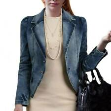 Women's Plus Size Denim Jacket Lapel Cropped Tops Long Sleeve Jeans Outwear Coat